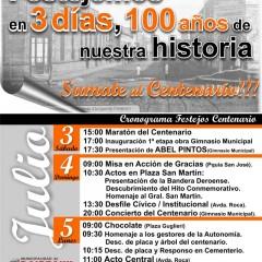 Cronograma Festejos del Centenario