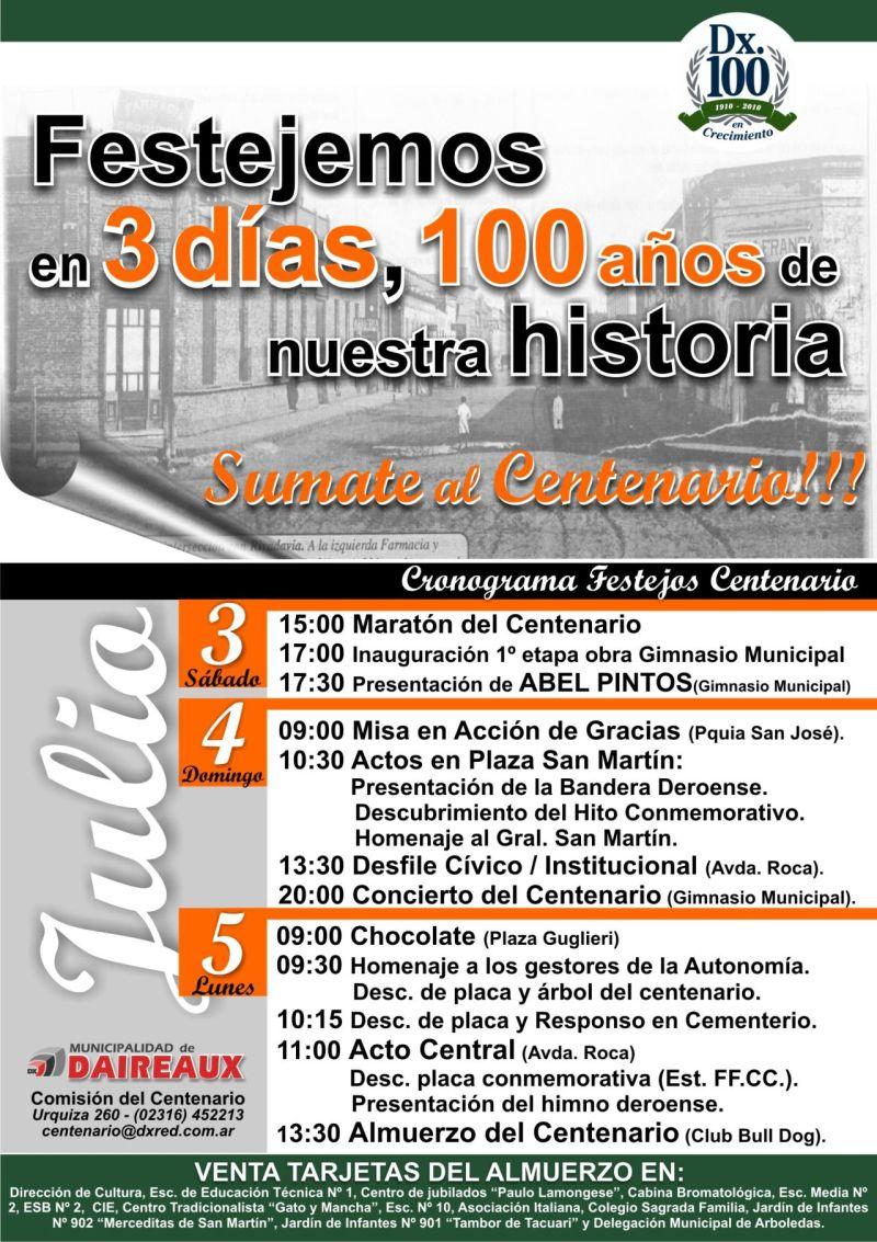 Cronograma Festejos del Centenario de Daireaux