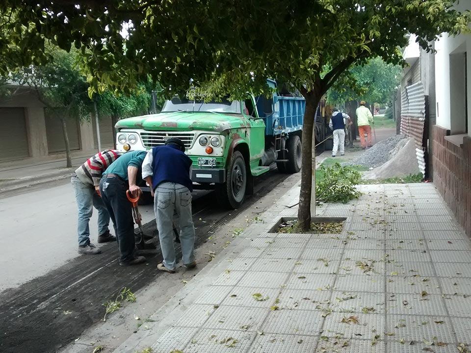 Repavimentación de la calle Sarmiento